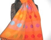 SALE Handwoven  Wool Scarf with Spots