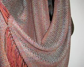 ON SALE  Handwoven Shawl Wrap Scarf in Baby Camel and Silk  Patinated Copper Woven by Tisserande