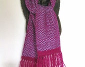 Handwoven Wool and Silk Scarf, Magenta and Blue