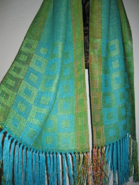 ON SALE  Handwoven Silk Shawl, Turquoise and Green