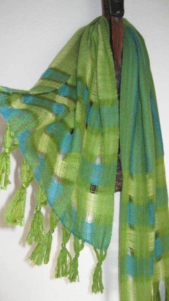 Handwoven Cobweb Wool Shawl, Green Merino Wrap woven by Tisserande