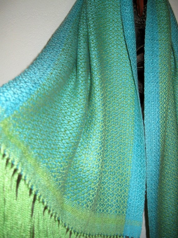 ON SALE Handwoven Shawl, Baby Camel and Silk, Blue and Green