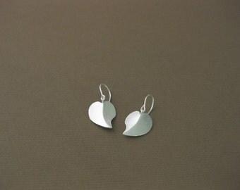Sterling Silver Handmade, Heart Earrings / Valentine's day