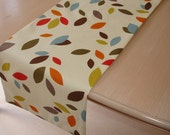 "36"" Table Runner Red Blue Orange Brown Mustard Grey Gray Green Scattered Leaves Coffee Table Topper 3ft Funky Retro Modern Design Cotton"