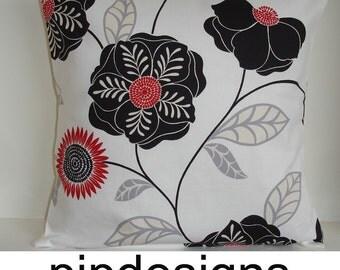 "18x18 Black and Red Pillow Cover Ivory Retro Modern Designer 18"" Cushion Sham Case Slip Pillowcase Bold Flowers 18""x18"" NEW"