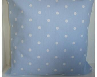 "16x16 Pillow Cover Baby Blue White Polka Dots 16"" Modern Designer Pillow Cushion Cover Case Sham Slip Pillowcase 16""x16"" Polkadot"