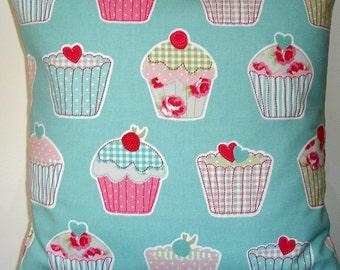 """16x16 Pillow Cover Pink Cupcakes Decorative Throw 16"""" Case Slip Sham Cushion Pillowcase Aqua Shabby Chic Cafe Standard Throw Pillows"""