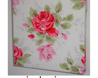 "Small 12"" Canvas Wall Art Shabby Chic Cath Kidston Pink Red White Classic Rose Fabric 30cm SMALL"