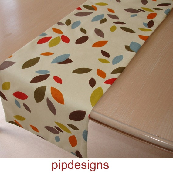 "72"" Fall Table Runner 180cm Retro Red Blue Orange Brown Mustard Yellow Grey Green Leaves 6ft Long"