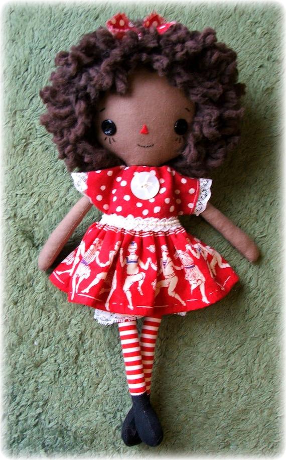 Sweet dark skinned red & white cloth doll, Raggedy Ann style, vintage fabric dress