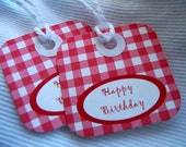 G is for Gingham tags (red ) Happy Birthday tags - 1/2 dozen.