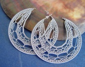 Handmade grey\/silver  crochet  hoops 2   1\/4 inches (60mm) earrings