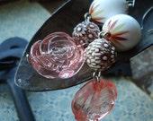 Porch Lemonade (earrings, bright sterling silver, vintage beads)