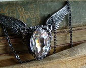 True - Seraph Collection - Silver Winged Jewel Neo-Victorian Gothic Necklace