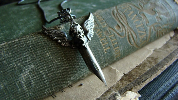 Literary  Sword No.2 - Vintage Fountain Nib and Filigree Necklace
