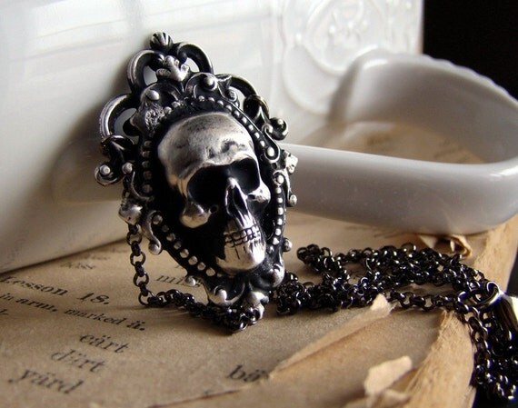 Hedonist Necklace - Skull Cameo and Silver Plated Neo Victorian Macabre