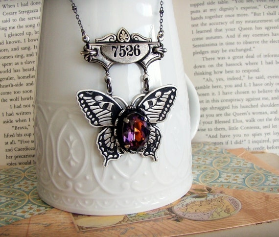 No.7526, Purple Persuasion - Specimen Collection - Neo-Victorian Steampunk Necklace in Silver
