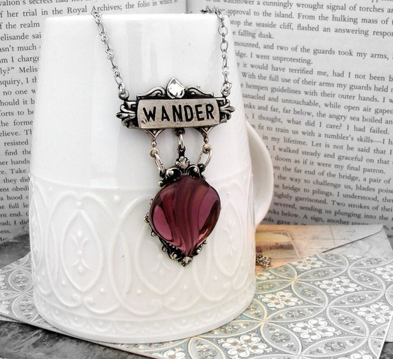 Not all Who Wander Are Lost -  Contraption Series  - Amethyst Jewel, Art Nouveau Silver Necklace