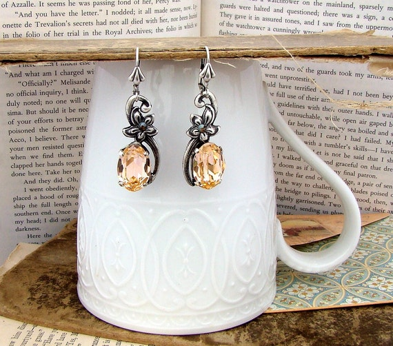Skin - Peach Crystal Dangle Earrings