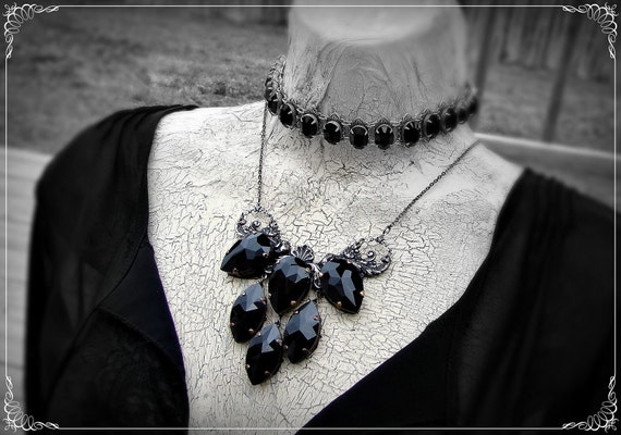 The Noir Lady - Choker, Jet Black and Silver Neo Victorian Necklace
