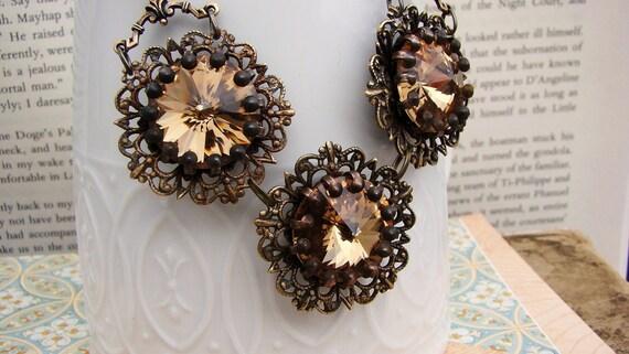 Vintage Bloom - Latte, Vintage Jewel and Brass Filigree Necklace