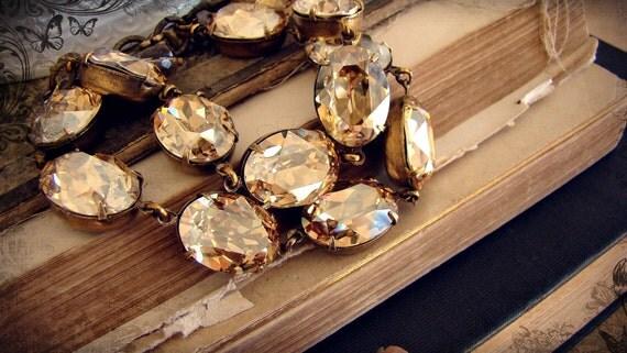 Gilded Tennis Bracelet, Swarovski Golden Infinity Bracelet in Brass