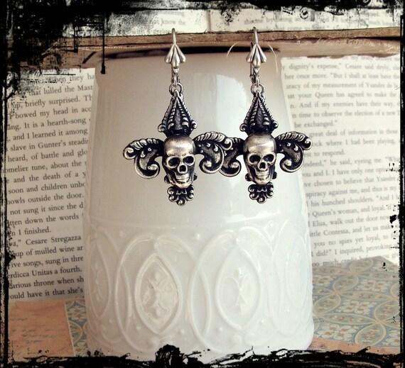 Sinner Earrings - Silver Fleur de Lis  and Sterling Earrings