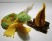Reginald the marshmellow roasting snake (a needle felted campfire critter set)
