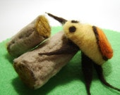 Bertram, the Pensive Bug on a log (needle felted critter set)