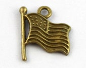 50 antiqued bronze US flag charms