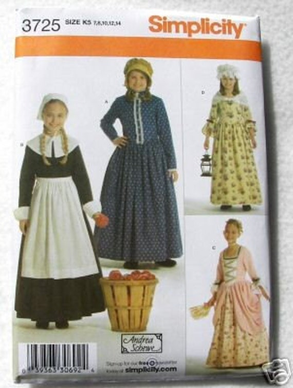 simplicity 3725 sewing costume pioneer dress and bonnet