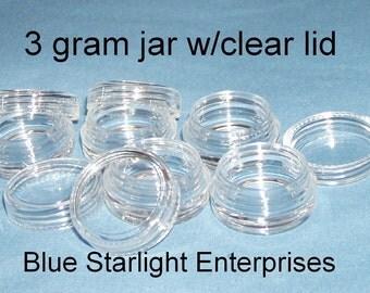 25 - 3 gram plastic jars clear lids makeup sample lip balm storage item 103N