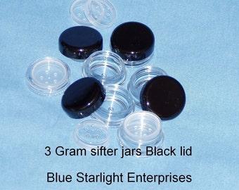 100 - 3 gram sifter jars for mineral makeup - black lids - item 203