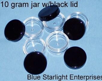 50 - 10 gram jars with black lids - item 210N
