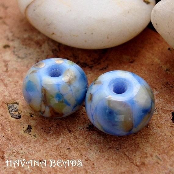 MORNING GLORY - Set of 2 Handmade Lampwork Beads - Earring Set