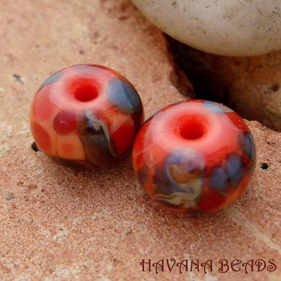 PEACH PETALS - 2 Handmade Lampwork Beads - Earring Pair