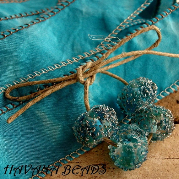 BLUE LAGOON Sparkle Beads with Luxurious Coordinated Silk Ribbon