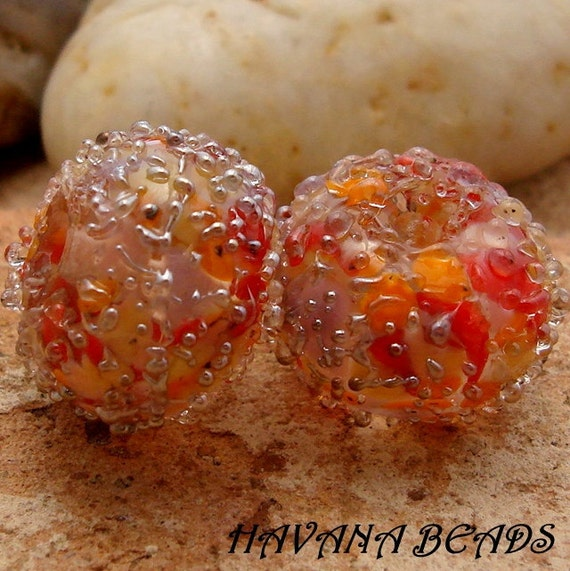 SALE Entire Store - INDIAN SUMMER - Silver Sparkle Earring Pair - Set of 2 Handmade Lampwork Beads