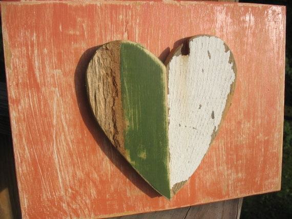 green white heart wood primitve rustic wall art Shabby Chic cottage decor farmhouse porch