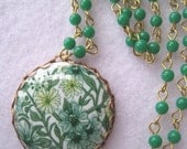 vintage green cabochon with green and gold chain (free shipping)