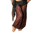 Gypsy Carnival belly dance Harem Pants. sexy sheer polka dots. Pink and Chocolate brown. Turkish Floorwork