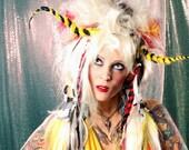 Fantasy Wig Long sci fi hair, huge Fantasy bouffant hairstyle platinum red, yellow black, Hair Nurse Lana Guerra