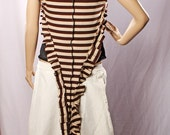 Steampunk Ruffle Vest Top Carnival stripes Belly Dance Long Pointy Fairy brown cream Shirt Gypsy Punk Vest Pirate Pixie Neo Victorian