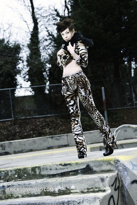 Exotic animal, cat, prineted soft spandex Wide Leg Tribal Fusion  PANTS and mini SKIRT , crude designs by Lana AOA