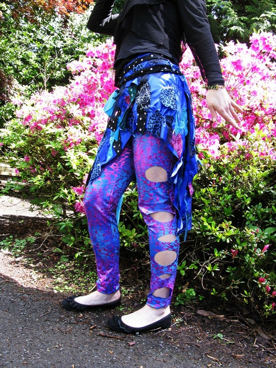 Wrap Around Tattered SKIRT, Shattered Lagoon. blue, purple, punk asymetical spandex ON SALE