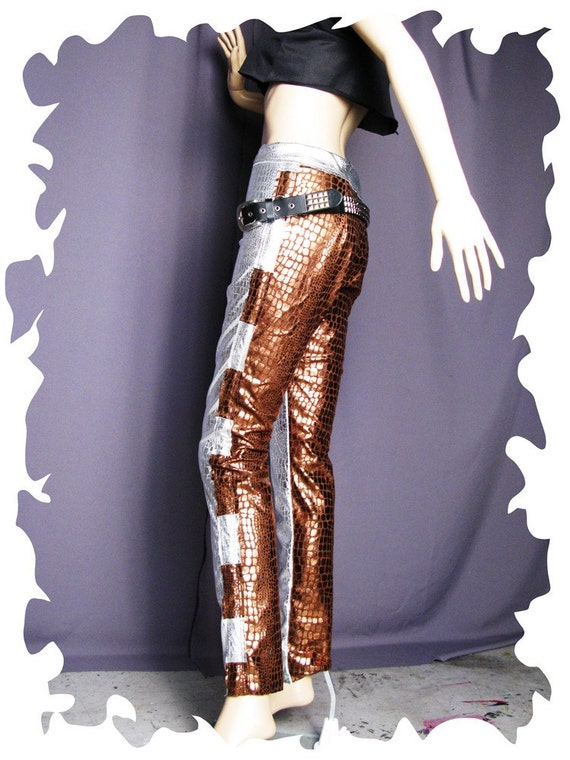 Skinny Leg Jeans Silver Bronze Reptile, Apocalyptic Lady Gaga. Crude Cigarette Pants SALE