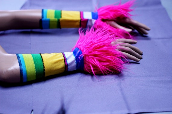 Rainbow Warriors Carnival Arm Warmers, Monster Paws, bright colors and Hot Pink long Fur Cuffs