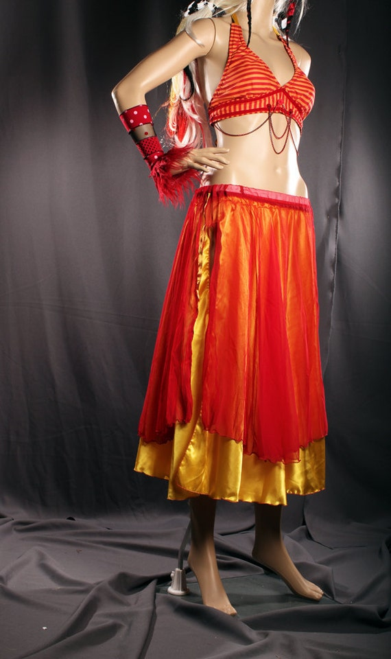 Red Yellow Full Round Belly Dance Circle Skirt, gorgeous chiffon and satin 2 skirts, Exotic costume, Gypsy Punk Style