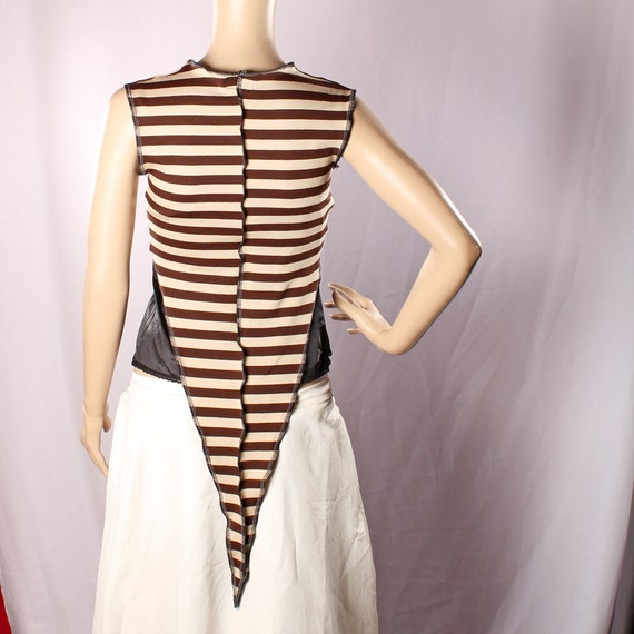 Steampunk Choli Top Carnival stripes Brown cream Belly Dance Long Pointy Fairy tie Shirt Gypsy Punk Vest Pirate Pixie gothic slouchy