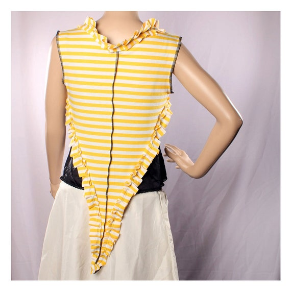 Fairy Stripe Vest Top Carnival Belly Dance, Long Pointy yellow white Ruffle stretchy shirt Gypsy Punk Vest Pirate Pixie Victorian